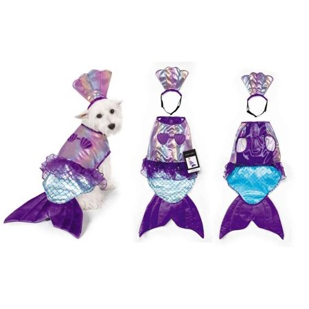 Dog Mermaid Costume (Iridescent Mermaid Dog Costume Mythical Blue Purple Shimmery Shell Top -)