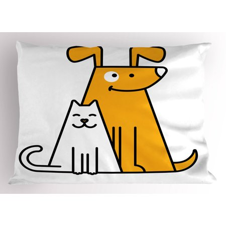 Cartoon Pillow Sham Cats and Dogs Human Best Friends Forever Kids Nursery Room Art Print, Decorative Standard Queen Size Printed Pillowcase, 30 X 20 Inches, Black White and Apricot, by
