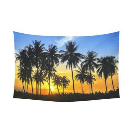 GCKG Sunset Island Coconut Palm Tree Tapestry Wall Hanging Tropical Beach Seascape Wall Decor Art for Living Room Bedroom Dorm Cotton Linen Decoration 90 x 60 Inches](Coconut Decorations)