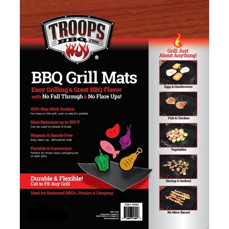 TROOPS BBQ Non-Stick Grill Mats 2-Pack, 15.75 x 13 Inch. Easy Grilling and Great BBQ Flavor with No Fall Through and No Flare Ups!