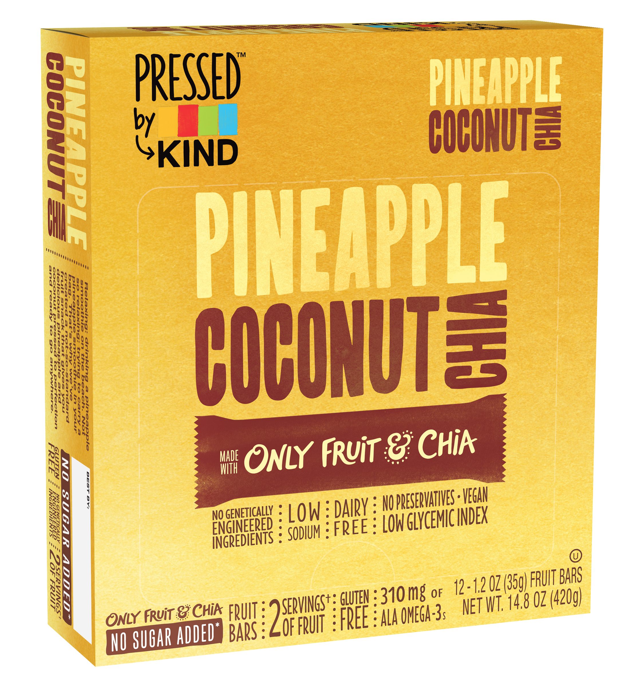 Kind Gluten-Free Pineapple Coconut Chia Fruit Bars, 1.2 Oz., 12 Count