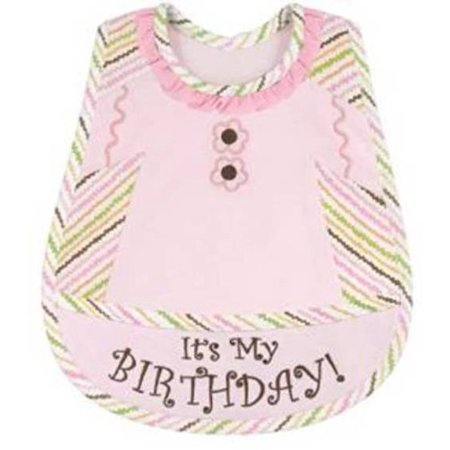 Stephan Baby Birthday Girl Embroidered 1st Birthday Bib, Pink 1st Birthday Girl Bib