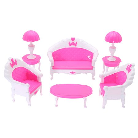 6PCS Pink Mini Living Room Sofa Furniture Sets Toy For Barbie Dolls Dream House Furniture Accessories Kids Birthday Gift