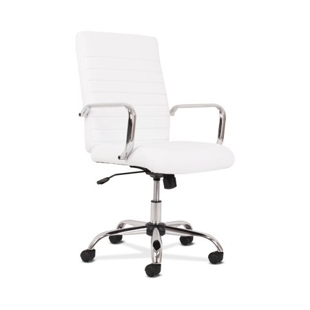 Sadie Executive Computer Chair- Fixed Arm for Office Desk, White Leather with Chrome Accents (HVST513)