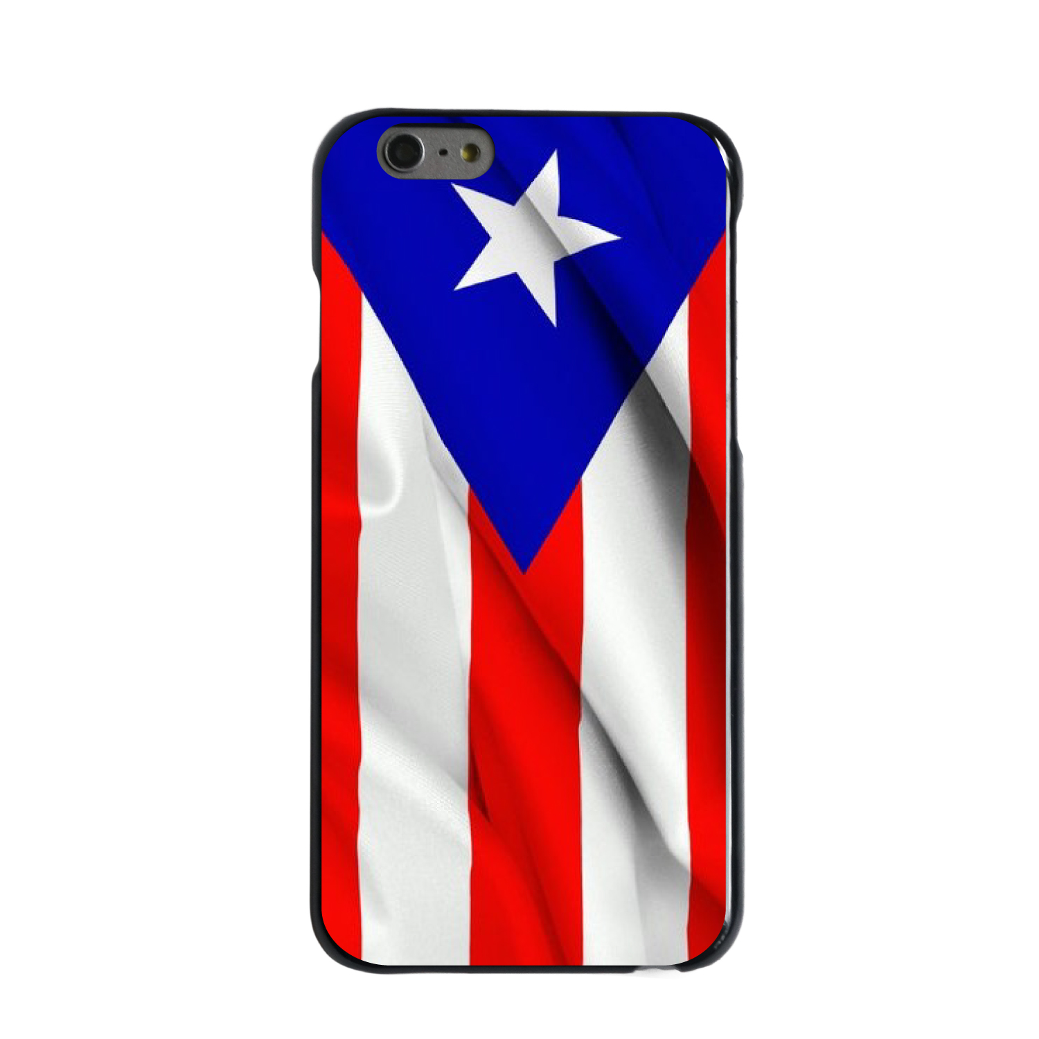 "CUSTOM Black Hard Plastic Snap-On Case for Apple iPhone 6 PLUS / 6S PLUS (5.5"" Screen) - Red White Blue Puerto Rico Flag"
