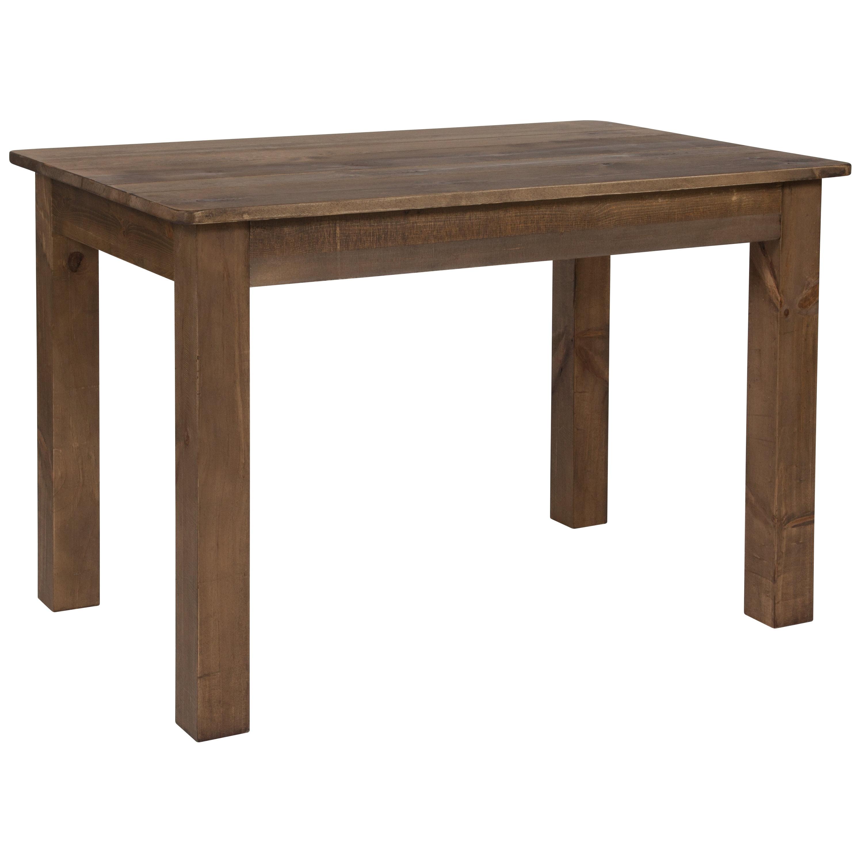 "Flash Furniture 46"" x 30"" Rectangular Antique Rustic Solid Pine Farm Dining Table"