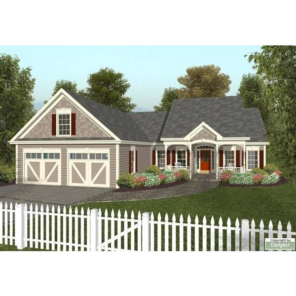 TheHouseDesigners-6763 Small Country Cottage House Plan with Slab Foundation (5 Printed Sets)