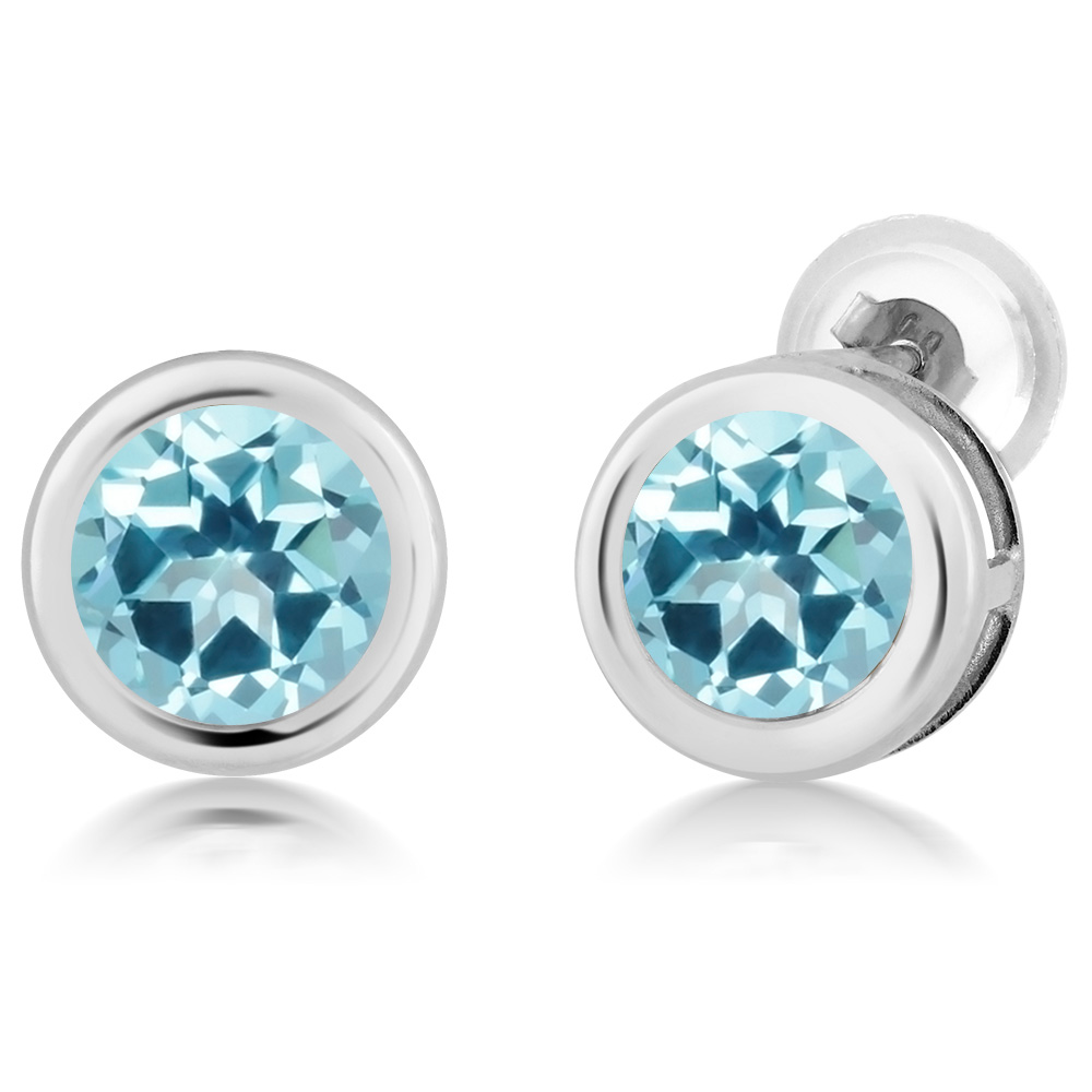 14K White Gold Earrings Set with Round Ice Blue Topaz from Swarovski by