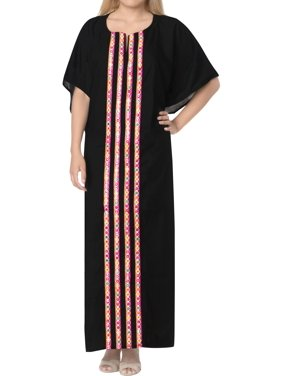 Stylish Womens Casual Evening  Party Rayon  Wear Plus Size Caftan Solid Plain Maxi Dress Kaftan
