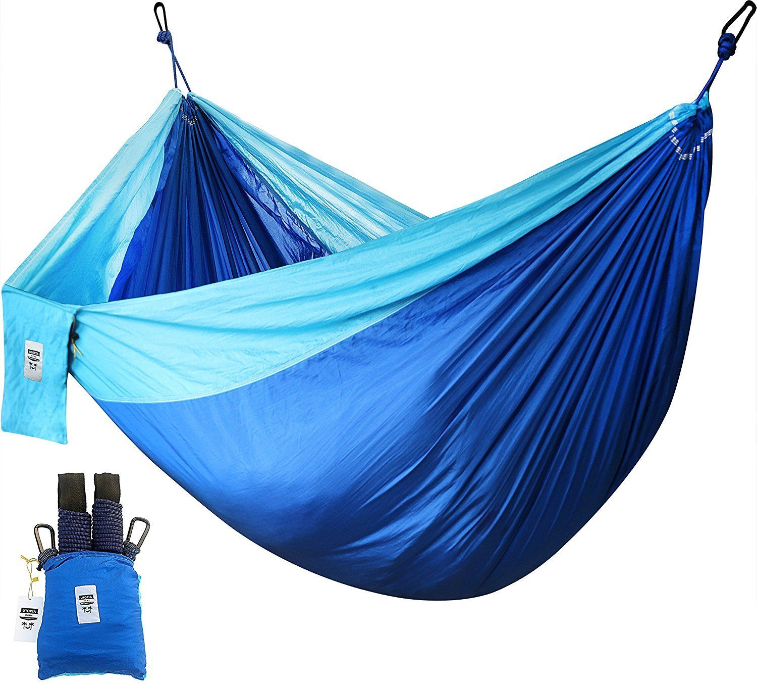 GHP 200-Kg Capacity Supreme Nylon Fabric Outdoor Camping Hammock w 2 Hanging Straps