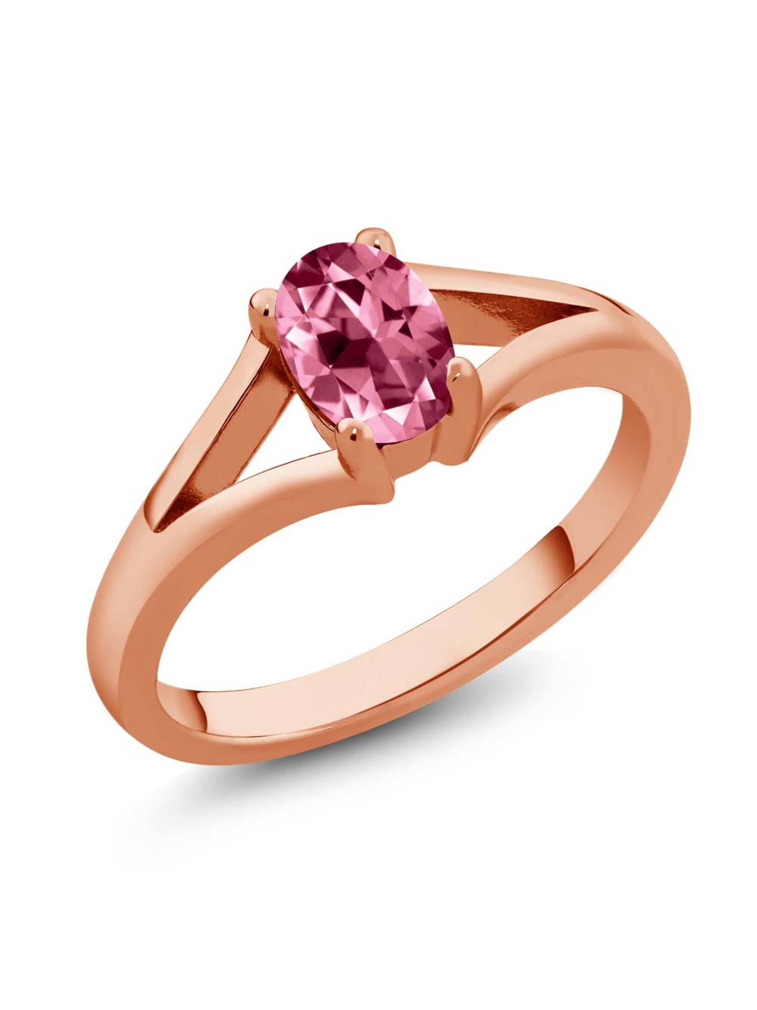 925 Rose Gold Plated Silver Ring Set with Oval Pink Topaz from Swarovski by
