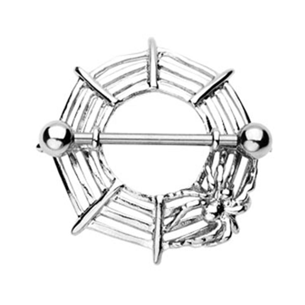 Spider Web Nipple Ring 14 Ga