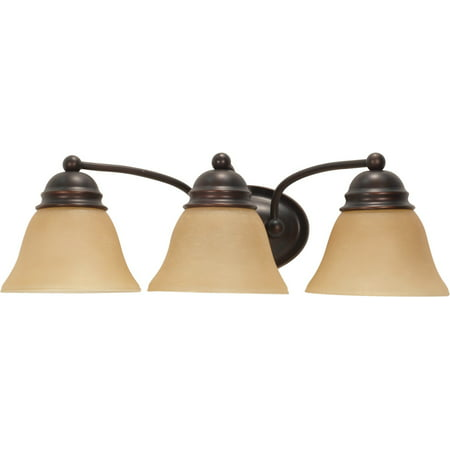 Bathroom Vanity 3 Light With Mahogany Bronze Finish Metal Medium Base 21 inch 300