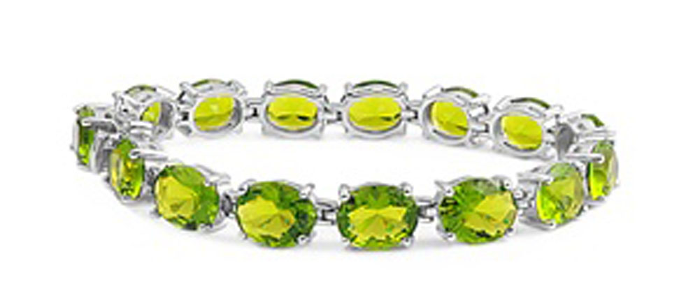Oval Tennis Eternity Bracelet Simulated Peridot .925 Sterling Silver by