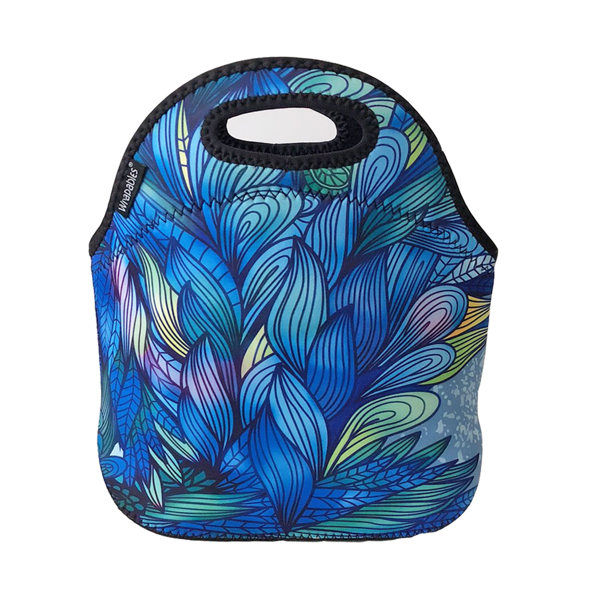ALLYDREW Insulated Neoprene Lunch Bag Zipper Lunch Box Tote Baby Bottle Bag, Blue Paradise
