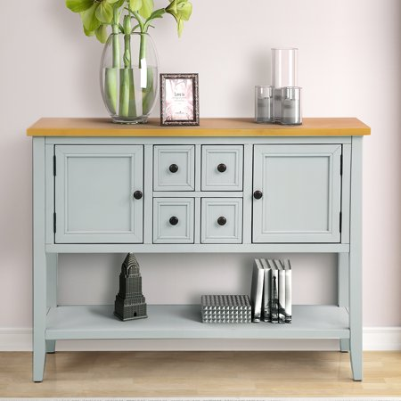 Clearance!Console Table with 4 Storage Drawers, Wood Buffet Sideboard Desk with 2 Cabinets and Bottom Shelf, Retro Wood Console Table Storage Cabinet for Dining Room Entryway, Ivory White, L2473 Dining Room Set Sideboard