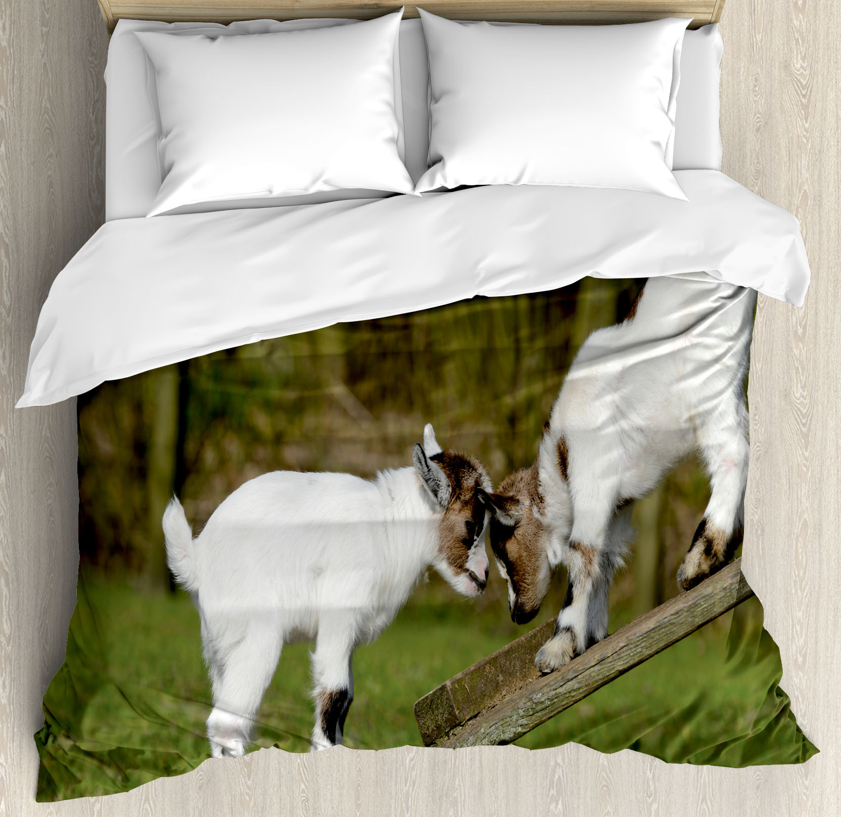 Animal Decor Queen Size Duvet Cover Set, Two Little Baby ...