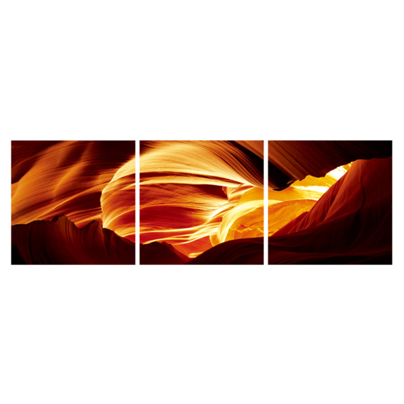 Furinno SeniA Antelope Caves 3-Panel MDF Framed Photography Triptych Print, 48 x 16-in