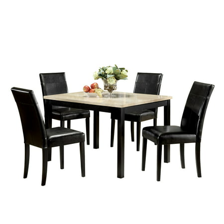 5 Piece Cherry Finish Wood - ACME Portland 5-Piece Pack Dining Set, Brown Faux Marble & Cherry