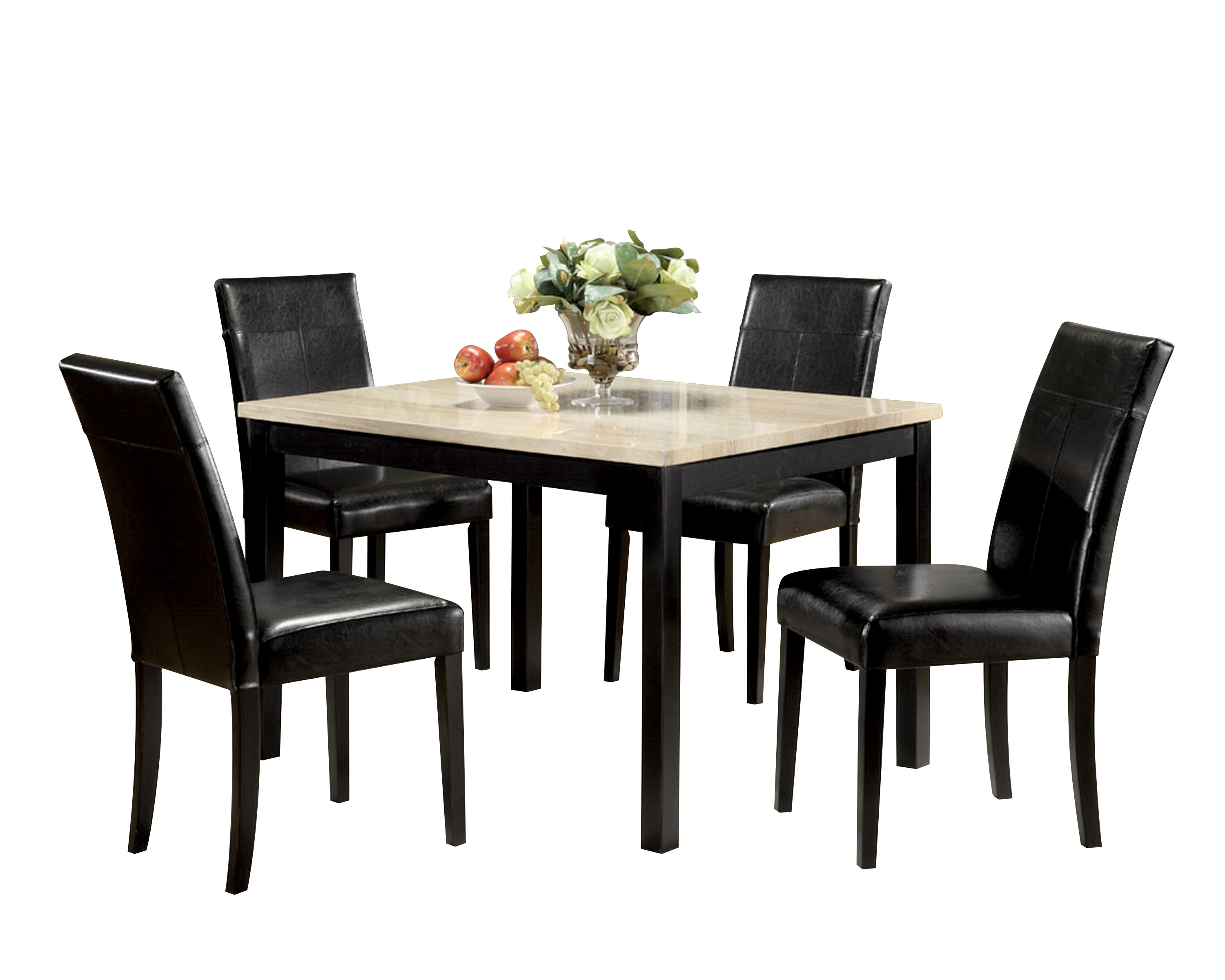 ACME Portland 5 Piece Pack Dining Set, Brown Faux Marble U0026 Cherry