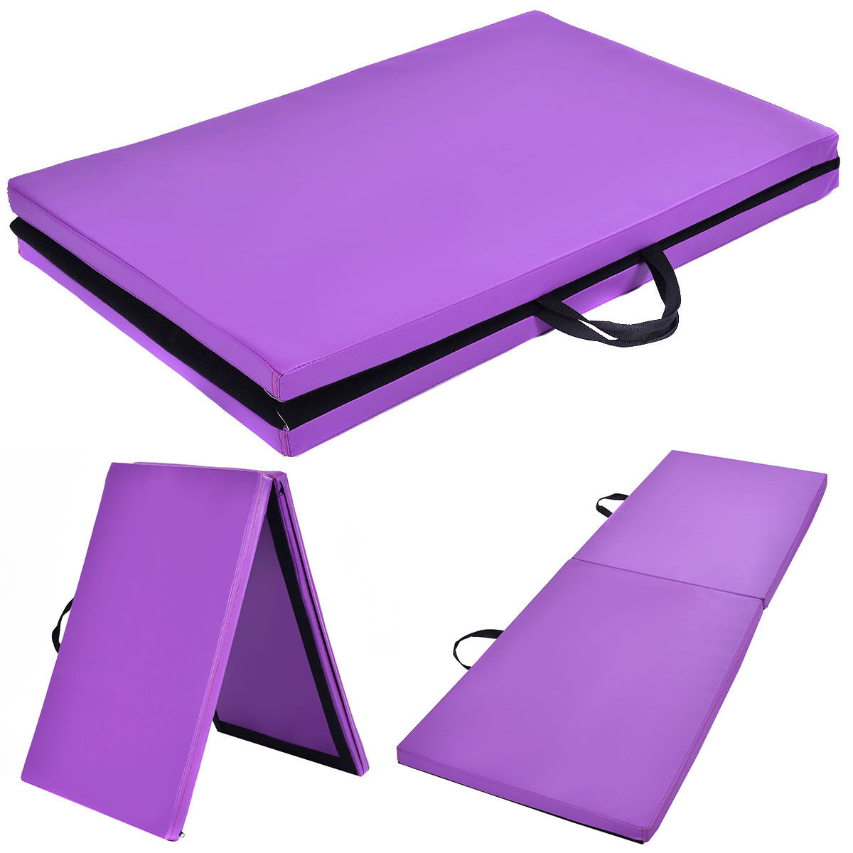 costway 6u0027x mat thick two folding panel gym fitness exercise purple