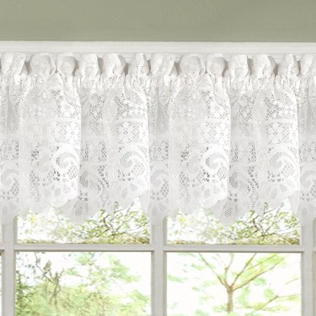 Hopewell Heavy Floral Lace Kitchen Window Curtain 12