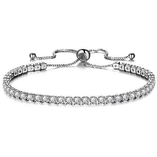 Gem Jewelers - Round Cut Swarovski Elements Crystal Adjustable Tennis  Bracelet - Walmart.com