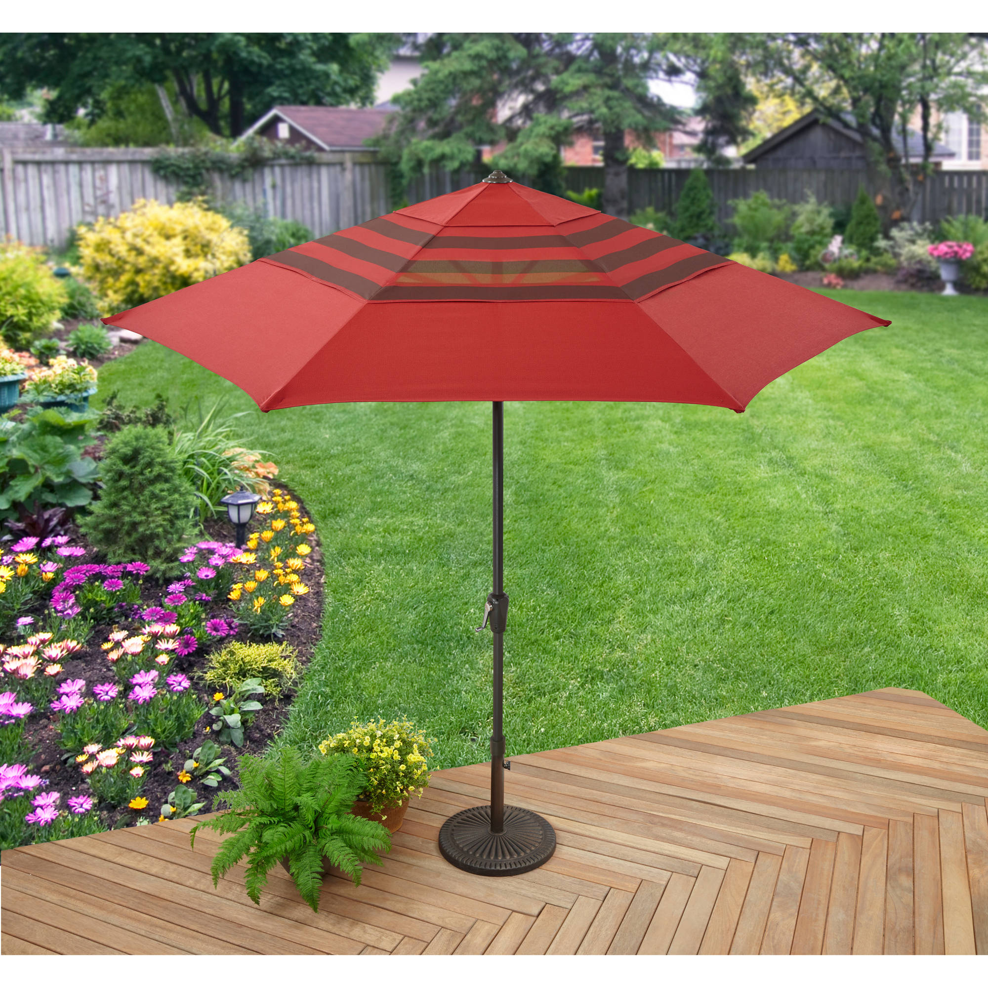 Better Homes and Gardens Rush Valley 9' 3-Tier Crank and Tilt Market Umbrella