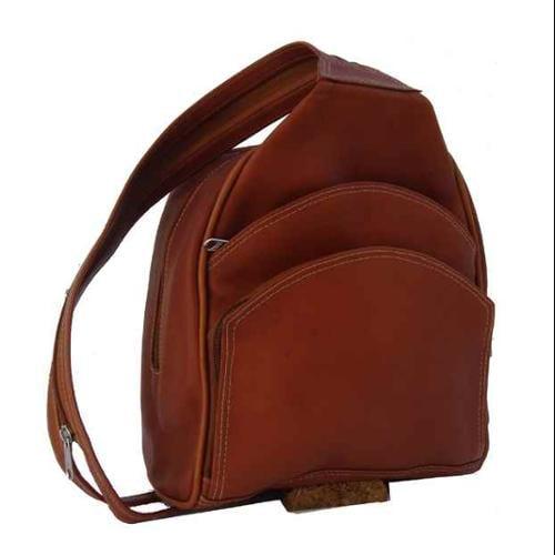 Leather Backpack Sling Bag in Saddle
