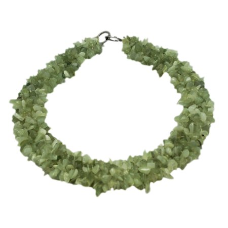 Wide Light Green Stone Bead Necklace - Green Beaded Necklaces
