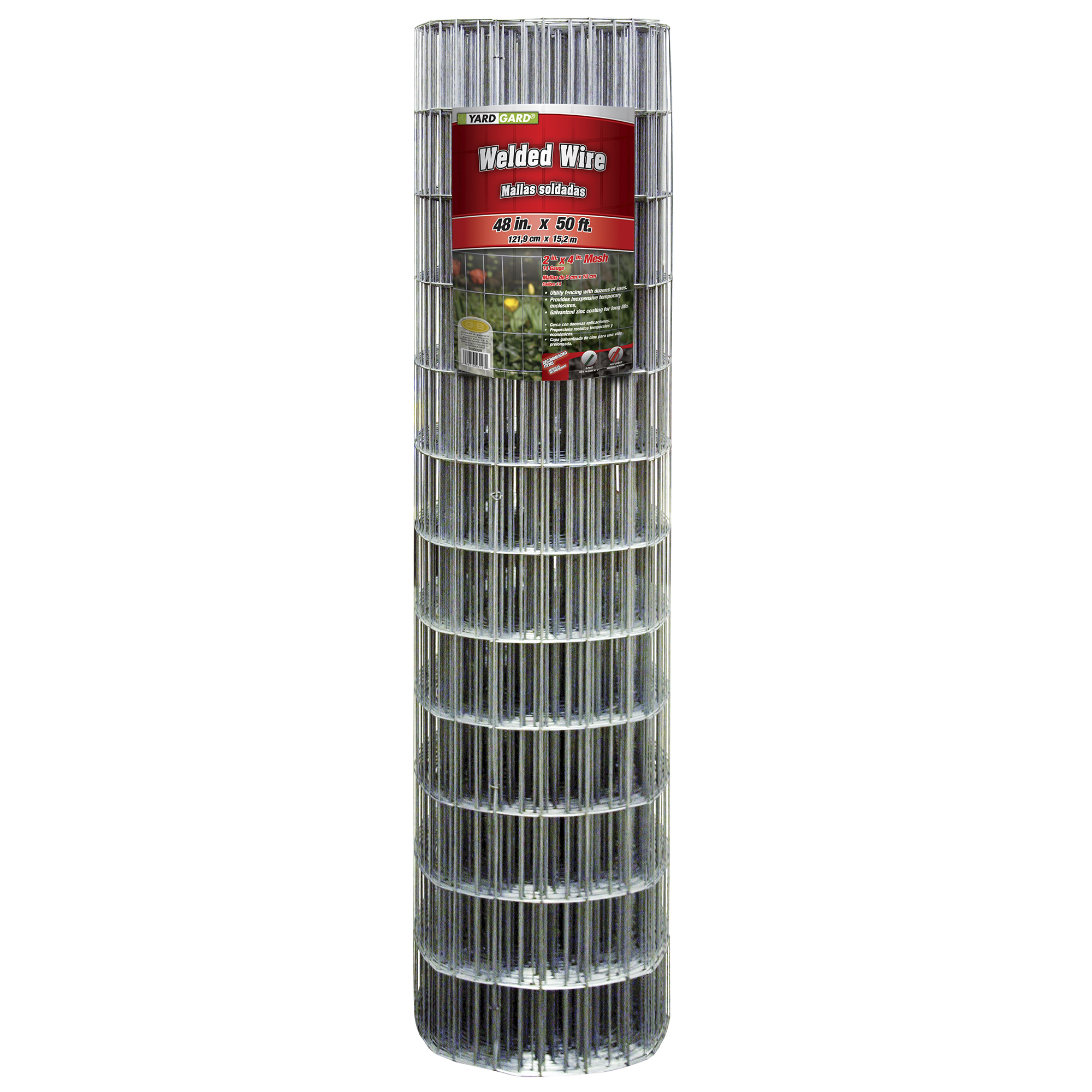 YARDGARD 2 Inch By 4 Inch Mesh, 48 Inch by 50 Foot Galvanized Welded Wire Fence