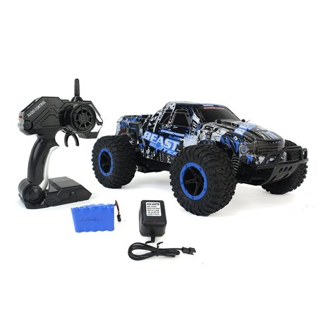 Cheetah King Remote Control Blue Toy Rally Truck RC Car 2.4 GHz 1:16 Scale Size w/ Working Suspension, Spring Shock Absorbers