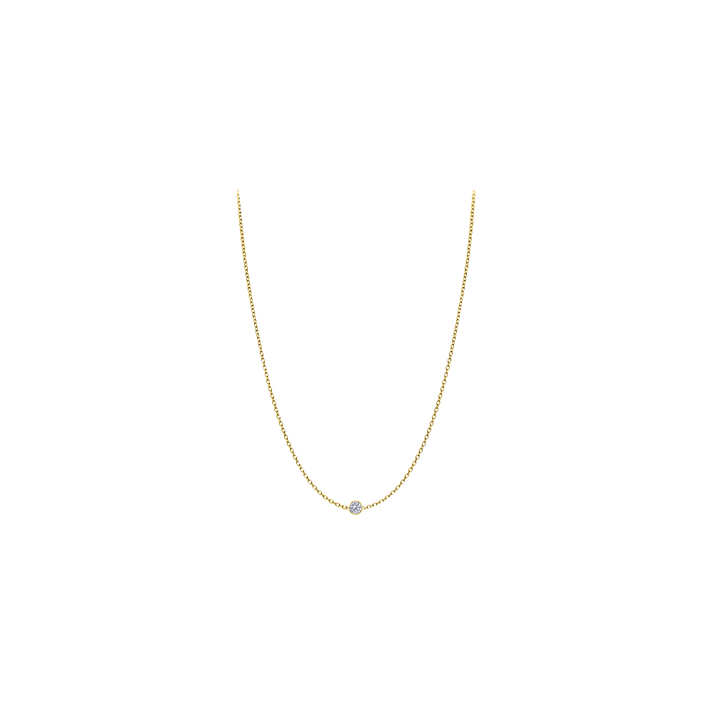 Diamond Necklace in 14K Yellow Gold Bezel Set 0.05 ct.tw by Love Bright