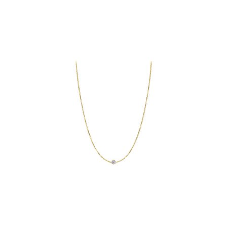 Diamond Necklace in 14K Yellow Gold Bezel Set 0.05 ct.tw 14k Yellow Bezel Set