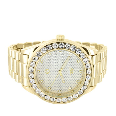 Techno Pave Custom Watch President Band Gold Tone Simulated Diamond 46mm Mens