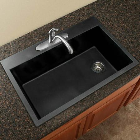Transolid Radius 33\'\' L x 22\'\' W Granite Single Bowl Drop-in Kitchen Sink