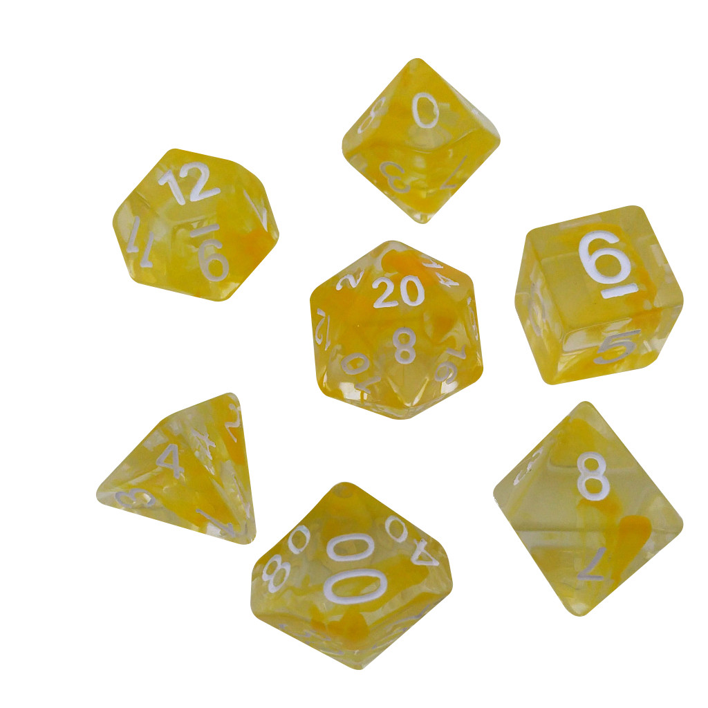 Aether Yellow Color with White Numbers - Pack of 7 Polyhedral Dice (7 Die in Set) | Role Playing Game Dice | D4, D6, D8, D10, D%, D12, and D20 -