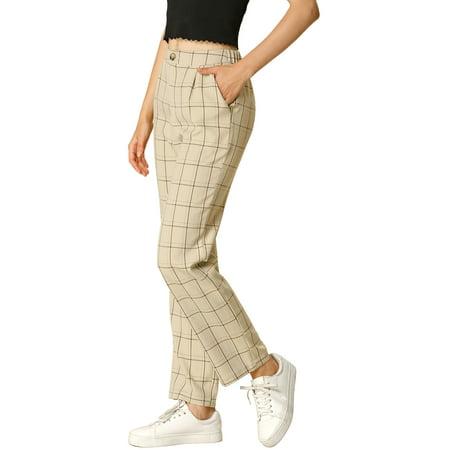 Women's Plaid Trousers Pockets Straight Leg Casual Pants S Khaki Casual Pant Khaki