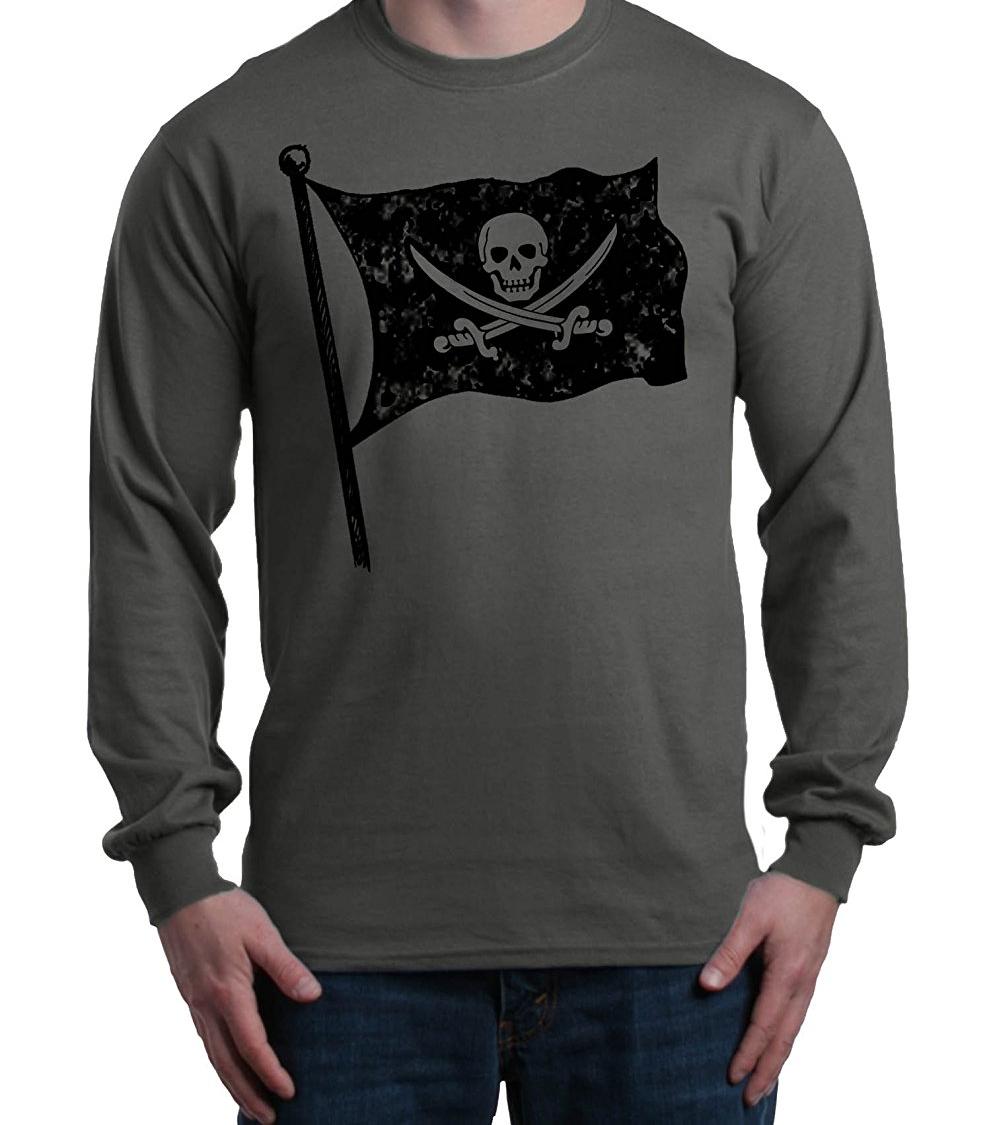Flag Skull American Pirate Childrens Long Sleeve T-Shirt Boys Cotton Tee Tops
