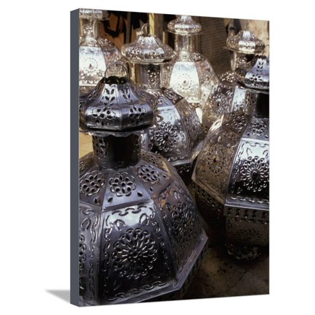 Punched Tin Lanterns, San Miguel de Allende, Mexico Stretched Canvas Print Wall Art By Inger Hogstrom