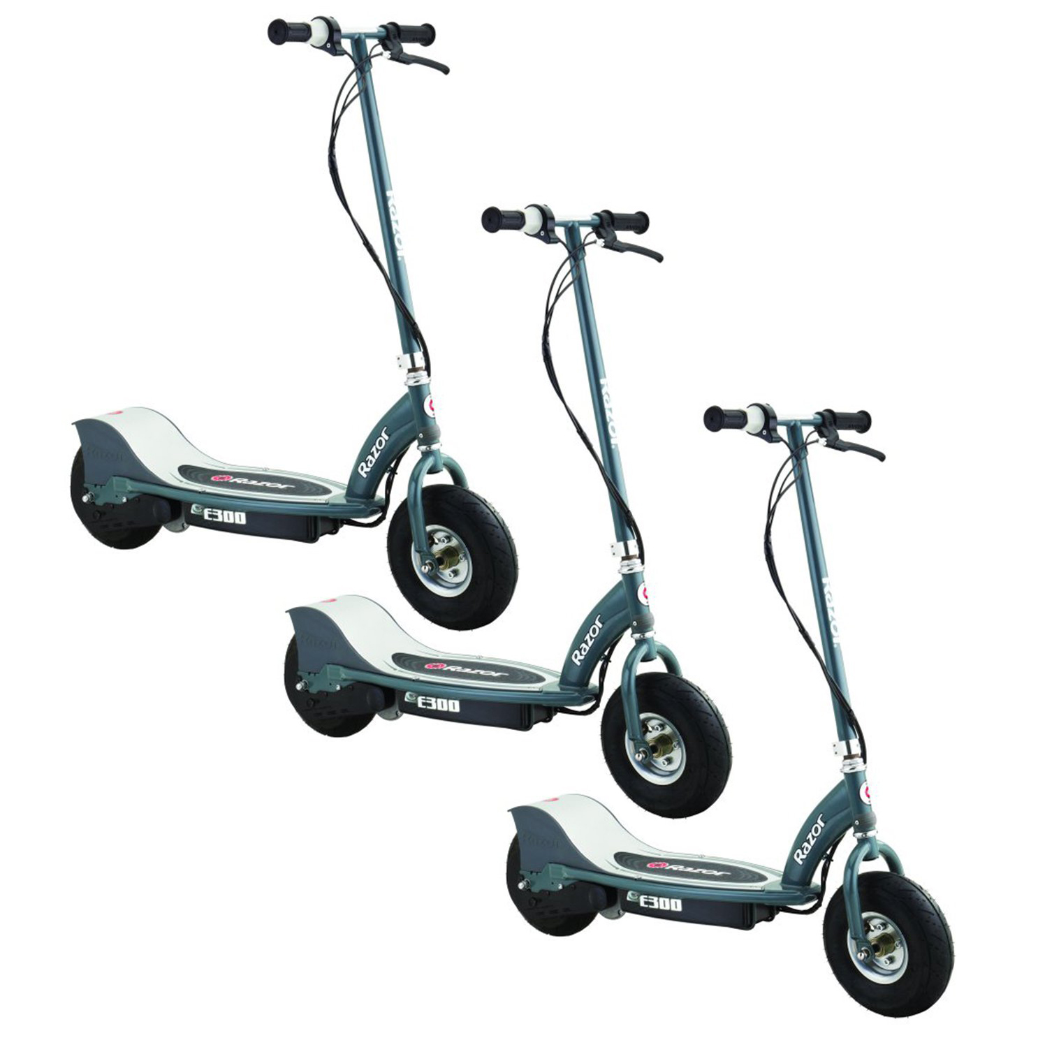 Razor E300 Electric Motorized Rechargeable Ride On Kids Scooter, Gray (3 Pack) by Razor