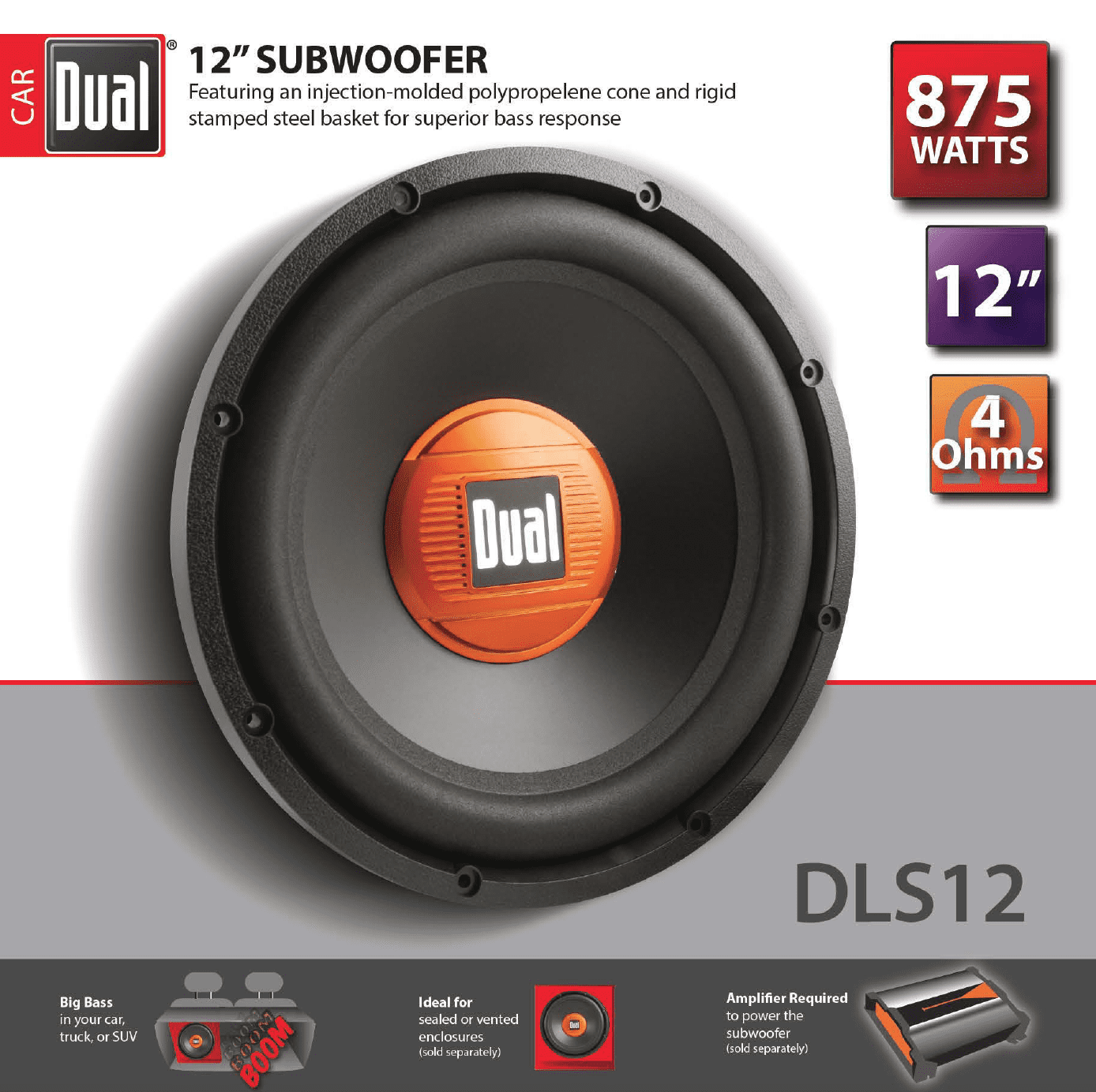 Dual Electronics Dls12 12 Inch High Performance Subwoofer With A 2 Wiring Diagram For Boss 4 Ohm Single Voice Coil And 875 Watts Of Peak Power