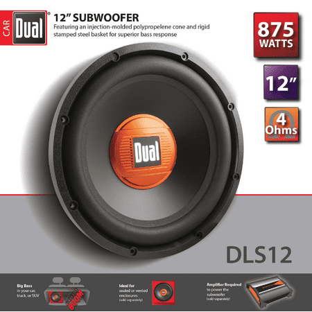 d70c11eaab1 Dual Electronics DLS12 12-inch High Performance Subwoofer with a 2-inch  Single Voice
