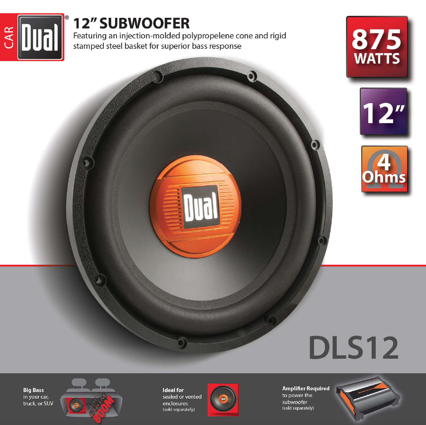 Dual Electronics DLS12 12-inch High Performance Subwoofer with a 2-inch Single Voice Coil and 875 Watts of Peak Power