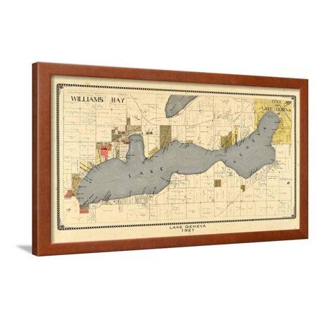 1921, Lake Geneva 1921, Wisconsin, United States Antique Map Framed Print Wall -