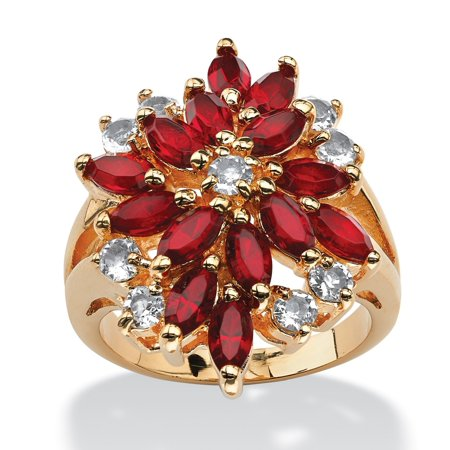 Marquise-Cut Red Floral Cluster Cocktail Ring MADE WITH SWAROVSKI ELEMENTS 18k Gold-Plated ()
