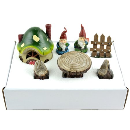 Fairy Garden Gnome Kit 7/Pkg-House, 2 Gnomes, Fence, Table, 2 Chairs - image 1 de 1