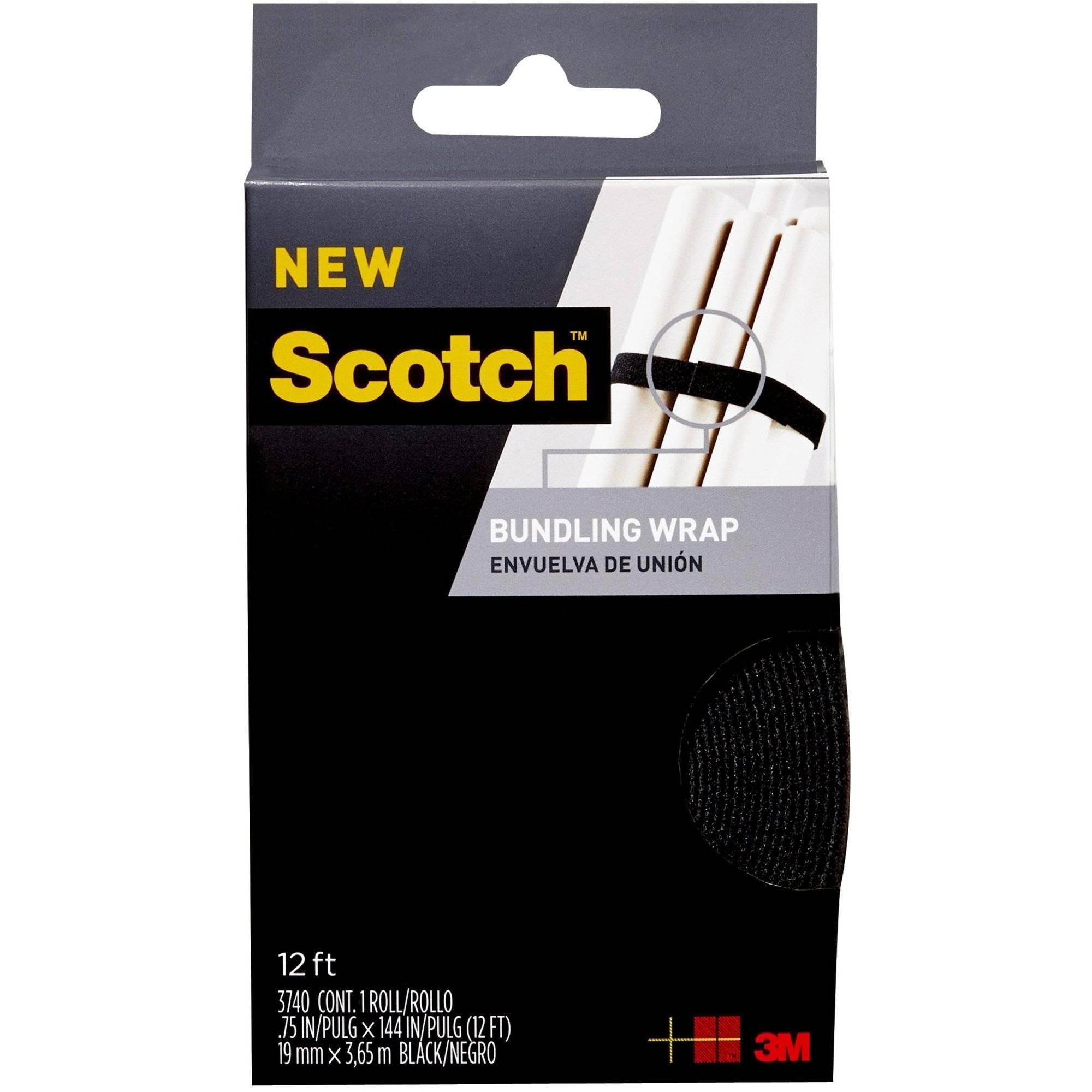 Scotch Bundling Wrap, 0.75 in. x 12 ft., Black, 1 Wrap/Pack