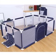 91 Inch Large Kid Baby Playpen Playard With Basketball Hoop,Folding Breathable Mesh Infant Children Play Game Fence for Indoors Outdoors Home