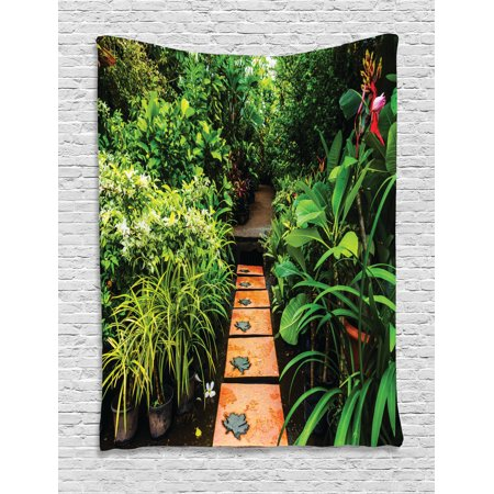 Zen Garden Tapestry, Lush Garden with Tropical Plants and Wooden Path Tranquility Harmony Theme, Wall Hanging for Bedroom Living Room Dorm Decor, 60W X 80L Inches, Green Pale Brown, by -